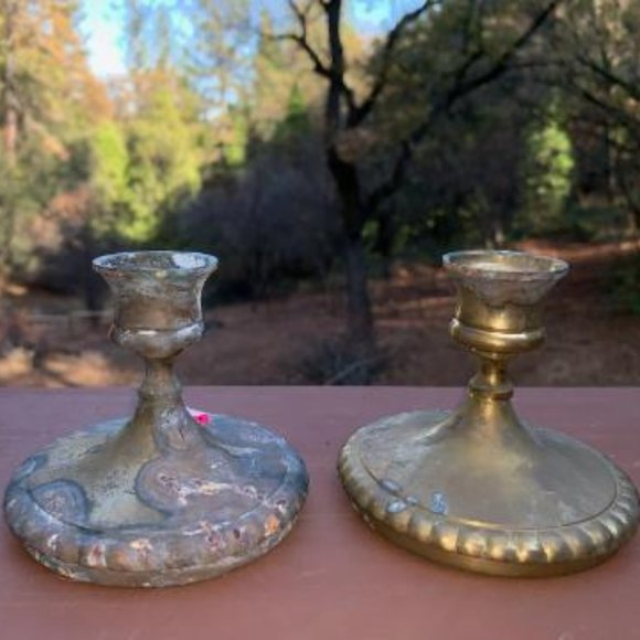 Vintage Two Solid Brass Candle Stick Holders